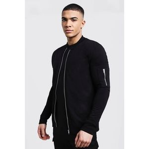 NWOT BOOHOOMAN Black Muscle Fit Bomber Jac…